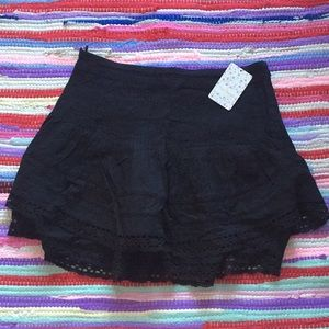 FREE PEOPLE TIERED LACE SKIRT